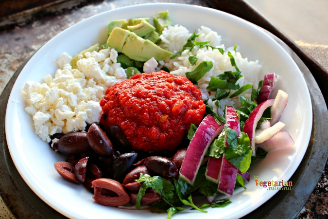 Mediterranean Rice Bowl @Vegetarianmamma.com - Quick and Easy Meal