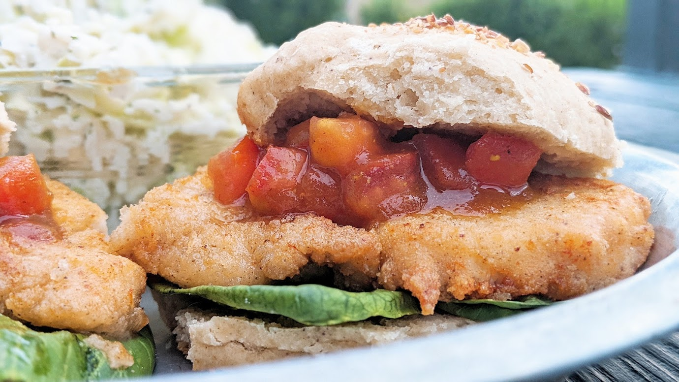 Fried Chicken or Oyster Mushroom Sandwiches with Spiced Tomato Jam